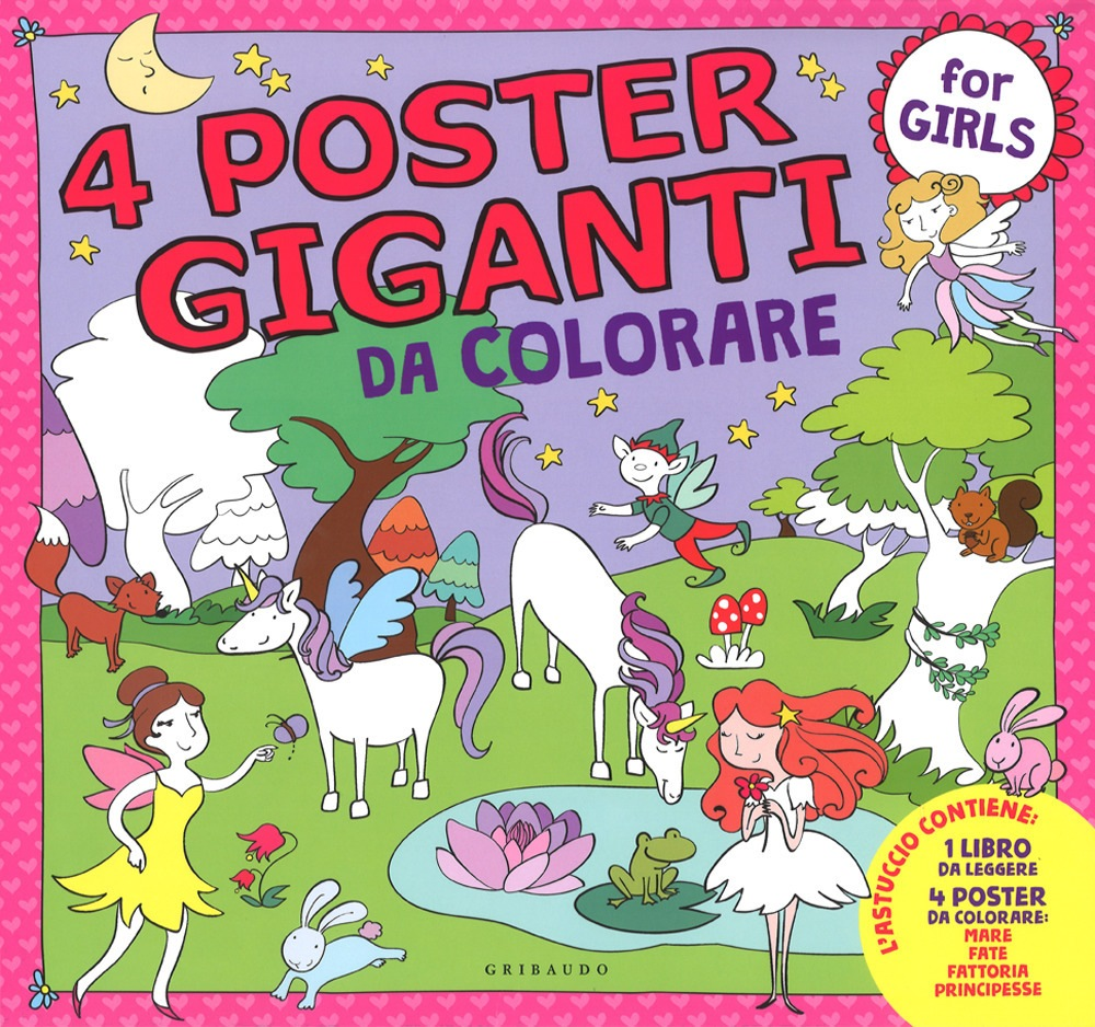 Libro 4 poster giganti da colorare for girls di for Poster giganti