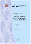 Necessary and sufficient global optimality conditions for NLP. Reformulations of linear SDP problems