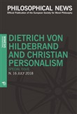 Philosophical news (2018). Vol. 16: Dietrich von Hildebrand and christian personalism. Special issue