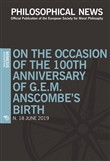Philosophical news (2019). Vol. 18: On the occasion of the 100th anniversary of G.E.M. Anscombe's birth