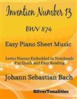 Invention Number 13 BWV 784 Easy Piano Sheet Music