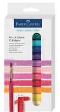 Faber-Castell 121812 - Astuccio cartone con 12 pastelli acquerellabili Mix & Match Gelatos