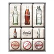 Set di 9 magneti Coca-Cola - Bottle Timeline, 9x2x7 cm