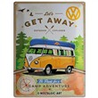 Cartello Tin Sign 30 x 40cm VW Bulli - Let's Get Away!, 40x0x30 cm