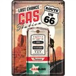 Cartolina metallica Metal Card Route 66 Gas Station, 14x0x10 cm