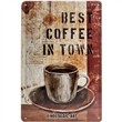 Cartello Tin Sign 20 x 30cm Best Coffee in Town, 30x0x20 cm