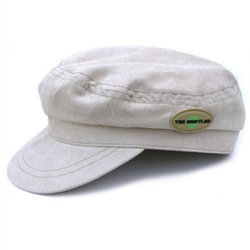 Beige Moleskin Help! Hat With Badge Medium