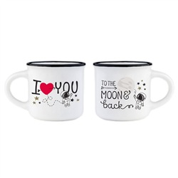 Tazzine da caffè Luna Legami Espresso for Two Coffee Mug To the Moon & Back. Set 2 tazzine